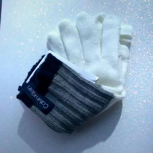 Calvin Klein Text Enabled Gloves White, Gray